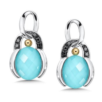 Sterling Silver Turquoise and White Quartz with Diamonds Fusion Post Earrings