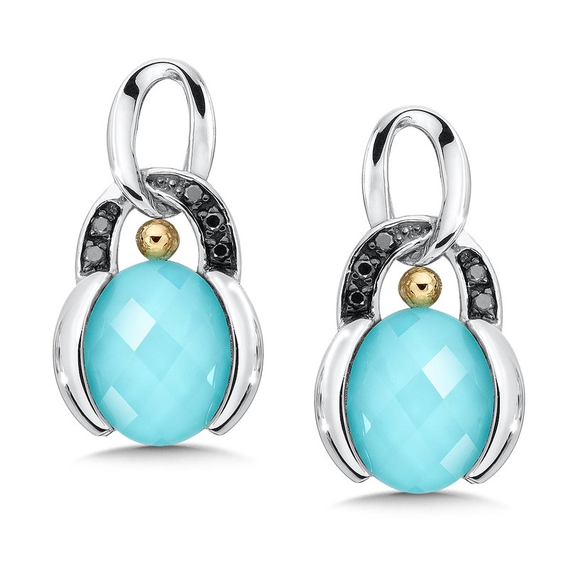 Colore SG Sterling Silver Turquoise and White Quartz with Diamonds Fusion Post Earrings