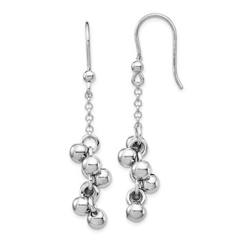 Sterling Silver Rhodium-plated Beads Dangle Earrings