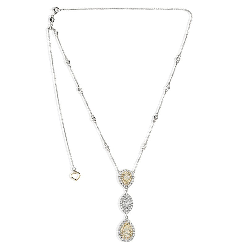 Roman & Jules Two Tone Graduated Diamond Necklace