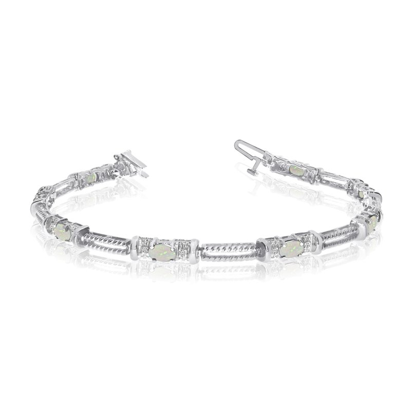 10k White Gold Natural Opal And Diamond Tennis Bracelet