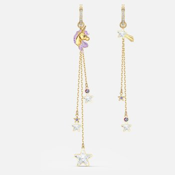 Out of this World Unicorn Pierced Earrings, Purple, Gold-tone plated