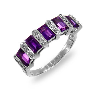 14K WG Diamond & Amethyst Ring