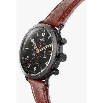 The Canfield Sport 45mm Black Matte Velvet Dial Leather Strap Watch