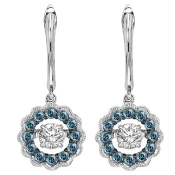 14K Blue & White Rhythm Of Love Earrings 1/2 ctw