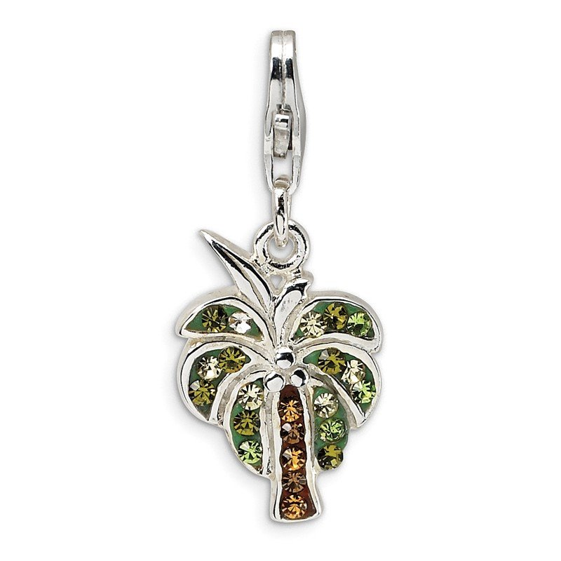 Quality Gold Sterling Silver Polished Swarovski Element Palm Tree w/Lobster Clasp Charm