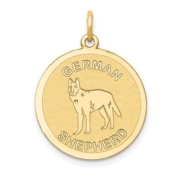 14k German Shepherd Disc Charm