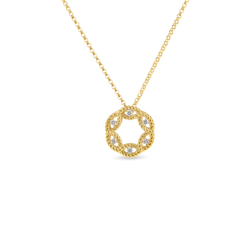 Roberto Coin 18Kt Gold Small Diamond Circle Pendant