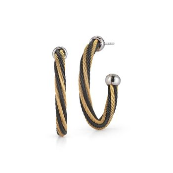 Black & Yellow Twisted Cable Hoop Earrings with 18kt White Gold