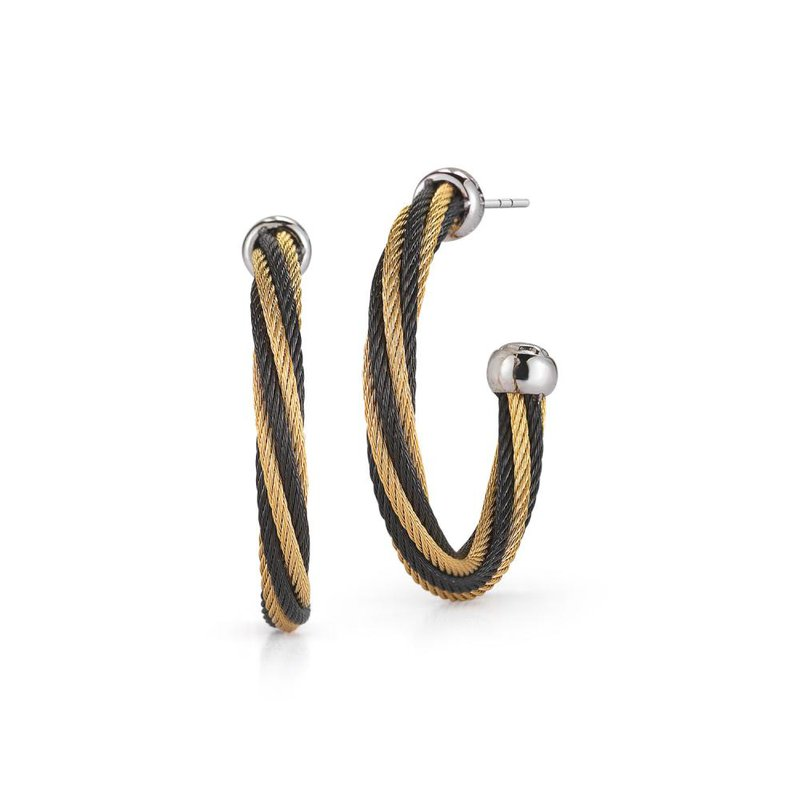 ALOR Black & Yellow Twisted Cable Hoop Earrings with 18kt White Gold
