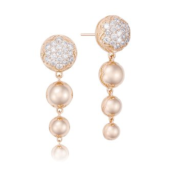 Ascending Drop Earrings featuring Pavé Diamonds