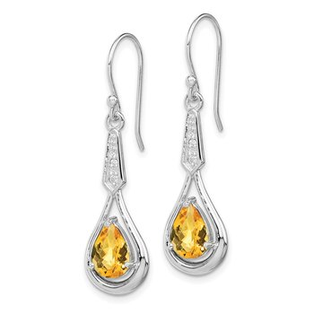 Sterling Silver Rhodium-plated w/CZ & Citrine Dangle Earrings