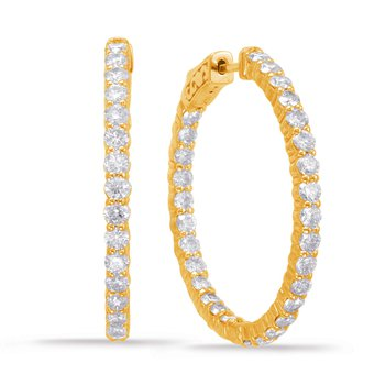 Yellow Gold Hoop Earring- 2 Prongs
