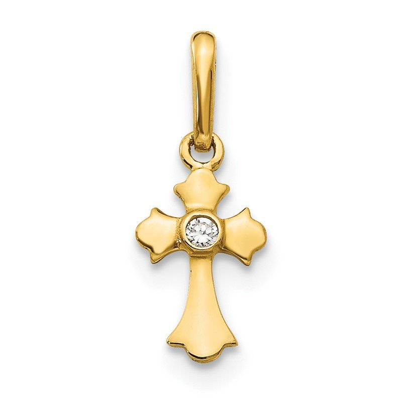 Quality Gold 14k Madi K CZ Children's Cross Pendant