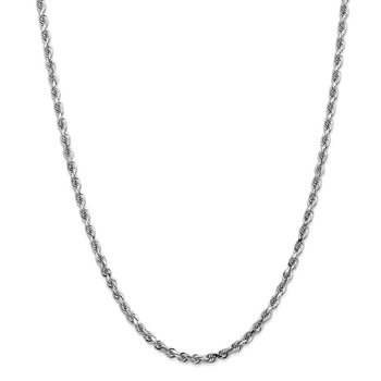 14k White Gold 4mm D/C Quadruple Rope Chain