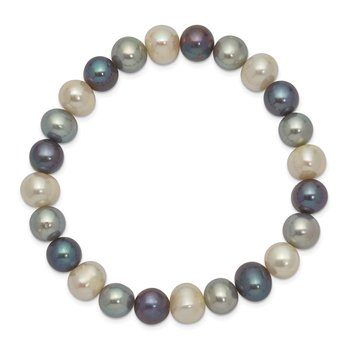 8-9mm FW Cultured White/Platinum/Black Pearl Stretch Bracelet