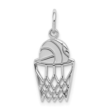 10K White Gold Basketball and Net Charm