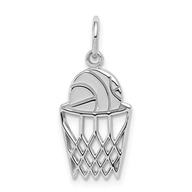 Quality Gold 10K White Gold Basketball and Net Charm