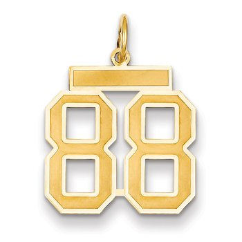 14k Medium Satin Number 88 Charm