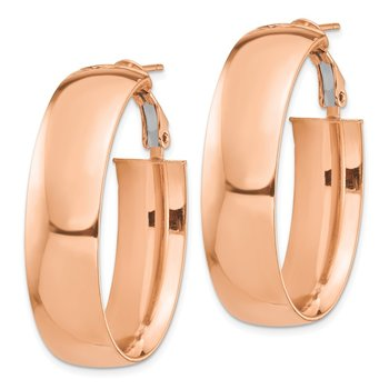 14k Rose Gold High Polished 10mm Omega Back Oval Hoop Earrings
