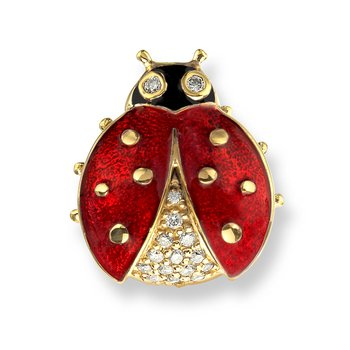 Red Ladybug Lapel Pin.18K -Diamonds
