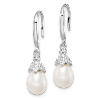 Sterling Silver Rhod-plat 7-8mm White Rice FWC Pearl CZ Dangle Earrings