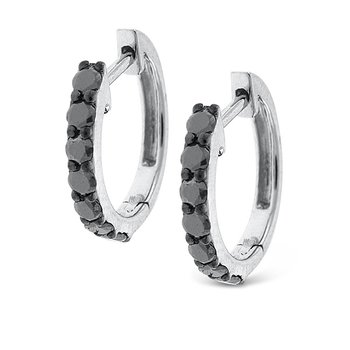 Black Diamond Mini Hoop Earrings in 14k White Gold with 14 Diamonds weighing .40ct tw.