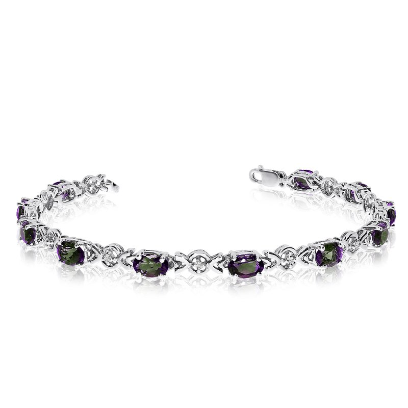 Color Merchants 10K White Gold Oval Mystic Topaz and Diamond Bracelet