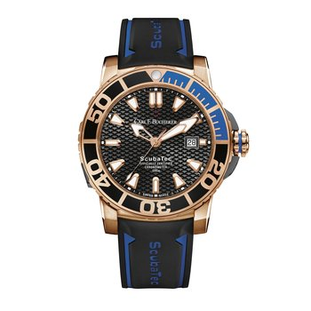 Patravi ScubaTec 45mm 18KRG Black Dial Mens Watch