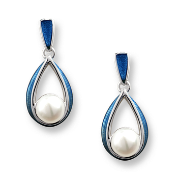 Sterling Silver Ribbon Stud Earrings-Blue. Pearls
