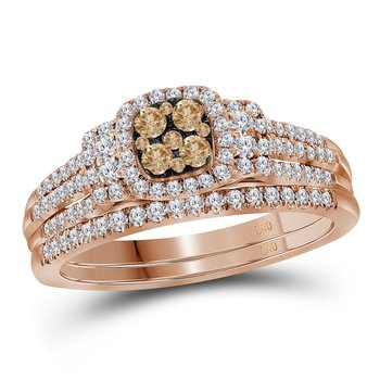 14kt Rose Gold Womens Round Cognac-brown Diamond Bridal Wedding Engagement Ring Band Set 1/2 Cttw