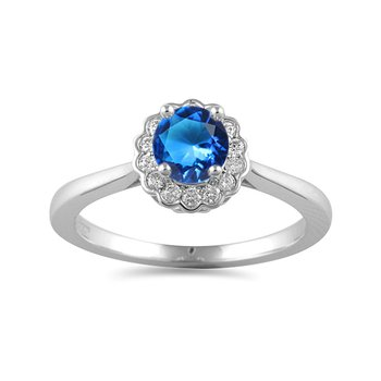 14K WG white and Ocean Blue diamond ring with Halo in prong setting