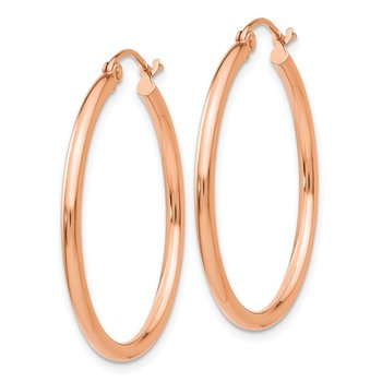 10K Rose Gold Polished 2mm Tube Hoop Earrings