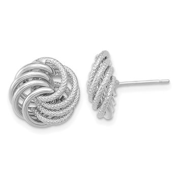 14k White Gold Polished Textured Fancy Swirl Post Earrings