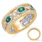 S. Kashi  & Sons Yellow & White Gold Emd & Dia Ring