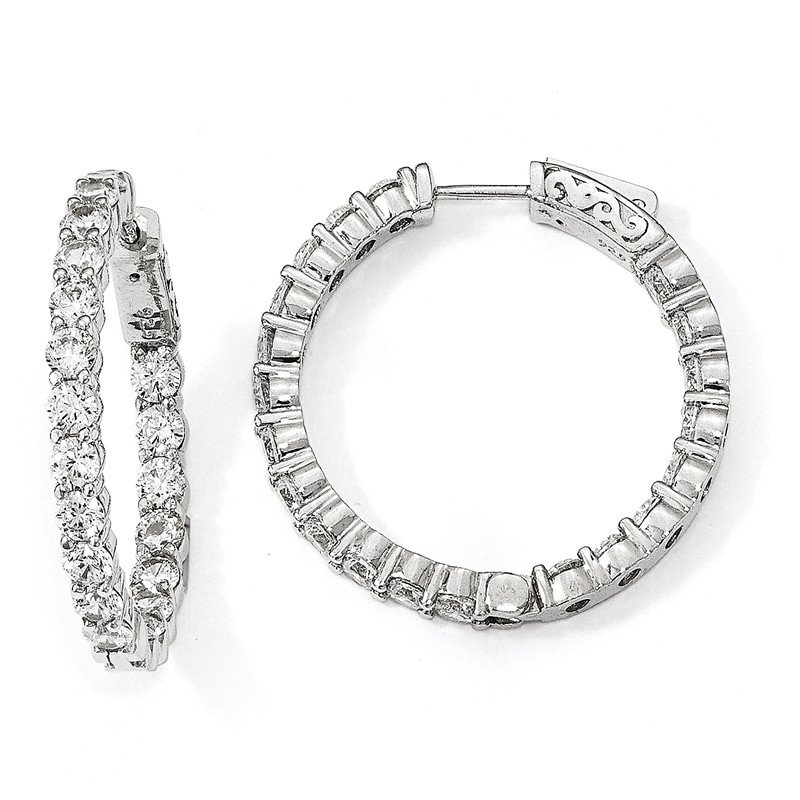 Quality Gold Sterling Silver Rhodium-plated CZ In & Out Hoop Earrings
