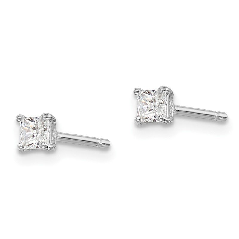 Quality Gold Sterling Silver Rhodium-plated Madi K 3mm Square CZ Stud Earrings