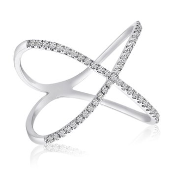 14k White Gold Diamond X Shape Fashion Ring