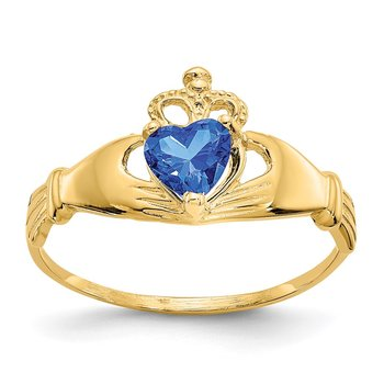 14k CZ September Birthstone Claddagh Heart Ring
