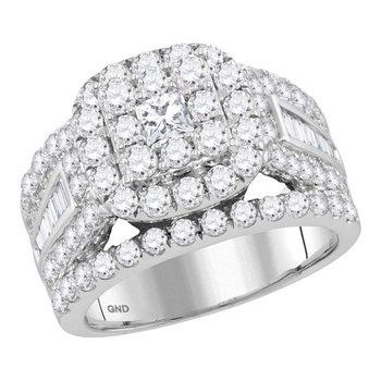 14kt White Gold Womens Princess Diamond Solitaire Halo Bridal Wedding Engagement Ring 3.00 Cttw
