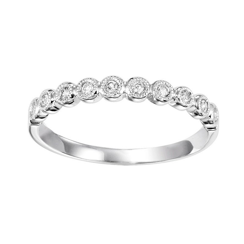 Gems One Diamond Bubble Bezel Milgrain Stackable Band in 10k White Gold