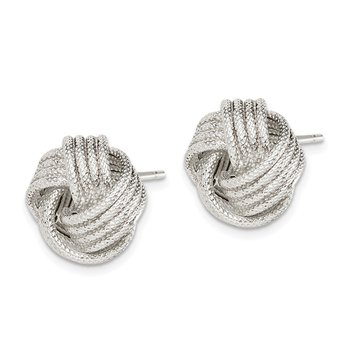 Sterling Silver Polished & Textured Love Knot Post Earrings