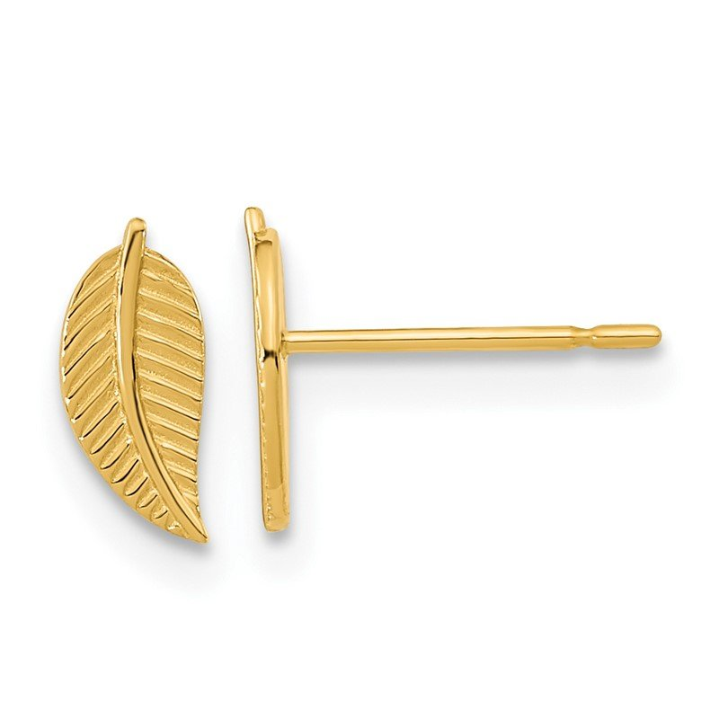 Quality Gold 14k Madi K Kids Leaf Post Earrings