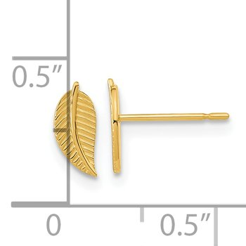 14k Madi K Kids Leaf Post Earrings
