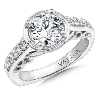 Diamond Engagement Ring Mounting in 14K White Gold (.18 ct. tw.)