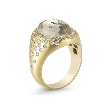 Ring with Diamonds and Rock Crystal
