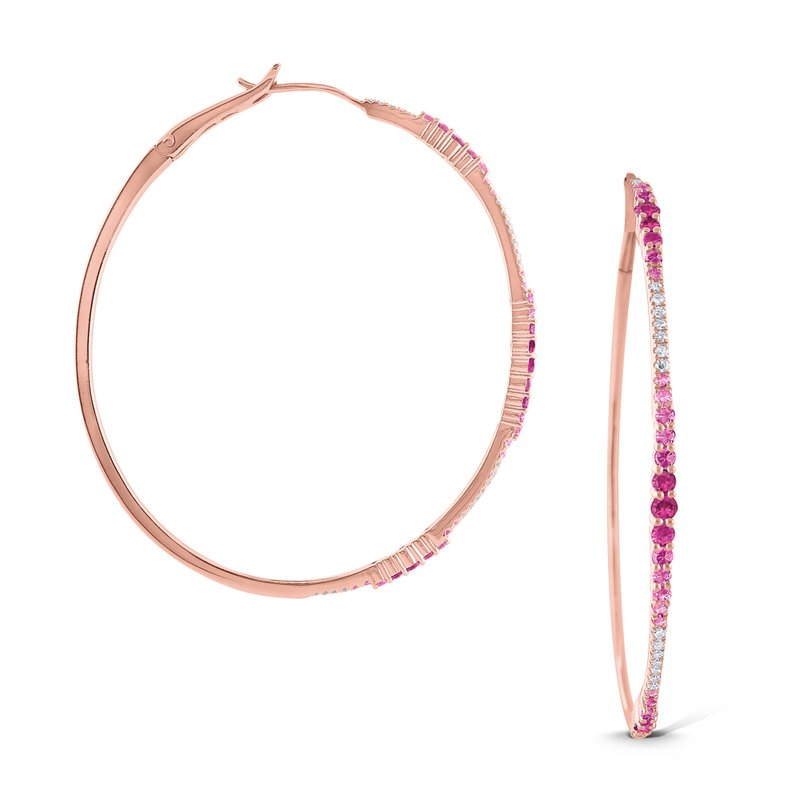 KC Designs 14k Gold Diamond and Pink Sapphire Hoops