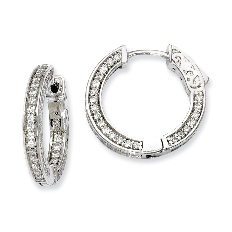 Quality Gold Sterling Silver CZ 134 Stones In and Out Round Hoop Earrings