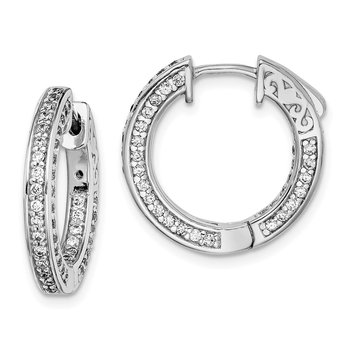 Sterling Silver CZ 134 Stones In and Out Round Hoop Earrings