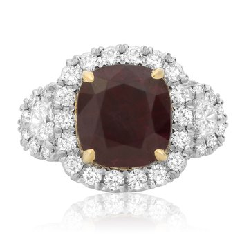 Platinum Ruby & Diamond Sidestone Ring